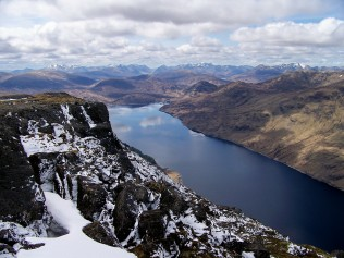 The view along Loch Treig from the summit of Stob Coire Sgriodain