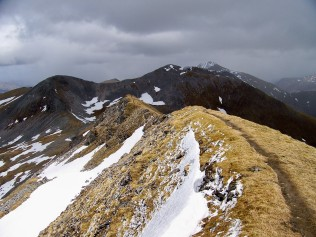 The summit of Sgurr Choinnich Mor, looking towards the Grey Corries