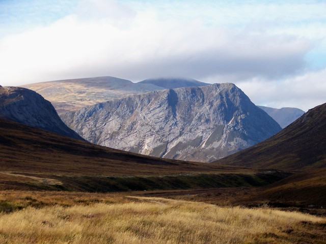 The slabby crags of the Devil's Point at the head of Glen Dee