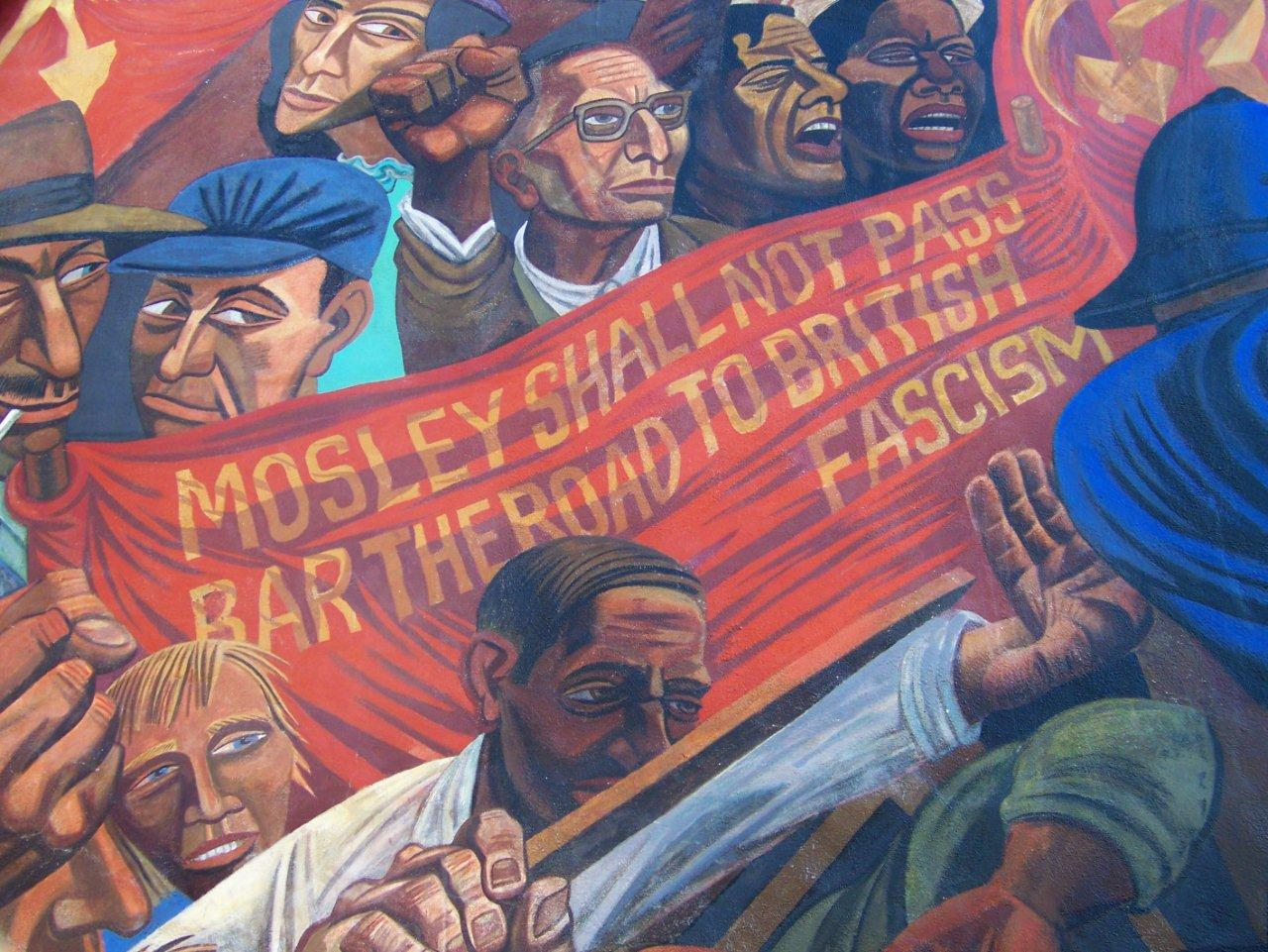 London 2 casting bells fighting fascism hanging pirates for Battle of cable street mural
