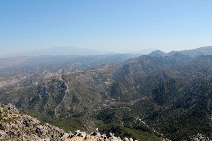 Looking north from the summit of Lucero, with the Sierra Nevada on the left of the horizon and Lujar on the right