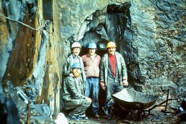 From left, Peter Inman, David Coward, Chris Cook, me crouching