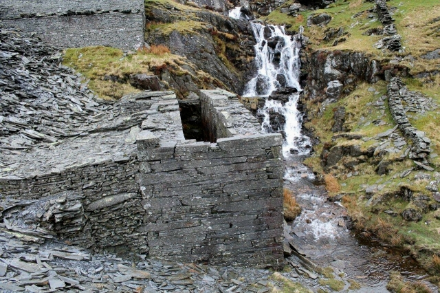 One of the ruined waterwheel pits at Croesor