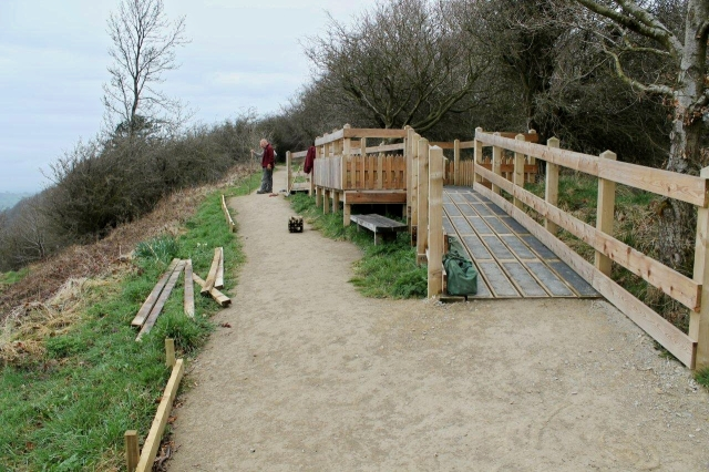 Two chaps building a ramp for wheelchair users at a viewpoint