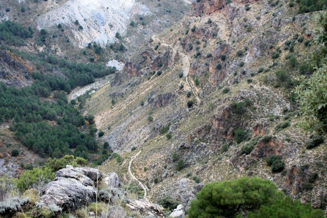 Looking down on my path from high on Pico de la Carne