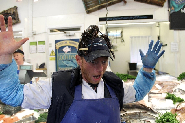 There are loads of fishmongers in North Shields but Taylors is one of the best because you get entertainment as well as fresh and inexpensivee fish