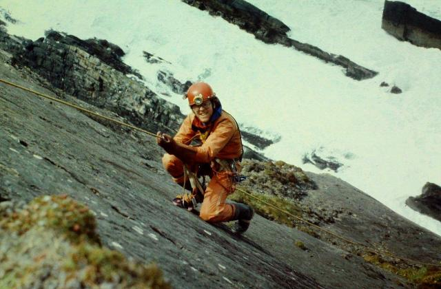 Phil Merrin abseils down one of the cliff faces