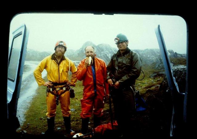 Three amigos. From left, in the fetching yellow suit, is myself, Mike Mitchell eating a banana, and Alastair Lings.