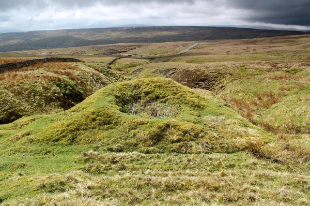 Old lead mine shafts such as this pockmark the landscape like craters on the moon