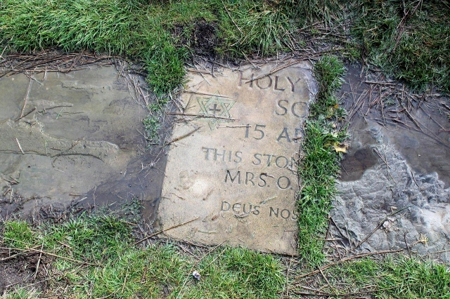 This half of a commemorative stone lies about half a mile distant from its other half, both of which have been incorporated into the surface of the Cleveland Way. I did a bit of Googling to see if I could track down Holy Trinity School but there are thousands of them. Someone else had tried as well, and the Cleveland Way National Trail body had replied to their query, stating that the stone slabs for the path are sourced in South Yorkshire and mainly come from old mill buildings. So the school is – or probably was – down south a bit. Possibly near 'Uddersfield