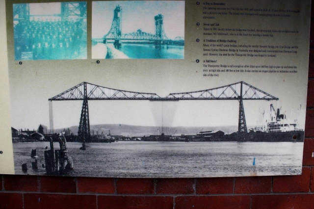 This picture on an information board shows the Transporter Bridge and, above it, the Newport Bridge, which is a mile or so upstream