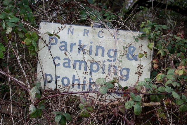 If you were hoping to park a car or camp for the night and spied these two signs hovering above the grass verge, and you were feeling bolshie and fancied yourself as what people used to call a barrack-room lawyer, you might fancy taking a risk and challenging the authorities. NRCC stands for North Riding County Council, which disappeared in the local government reorganisation of 1974. Further along there's a sign written in Latin banning chariot racing. Just kidding.