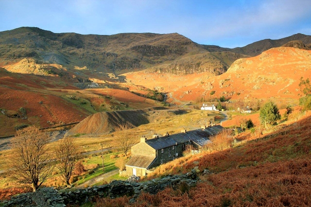 The view along Coppermines Valley towards Coniston Old Man and Brim Fell. The white building is the Coppermines Youth Hostel. It used to be the mine manager's house. The white building to its right was the mine stables, but is now the Barrow Mountaineering and Ski Club Hut.