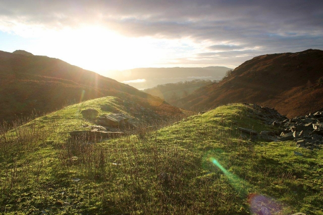Sunrise over Coniston from the spoil heaps of the Low Blue Quarry