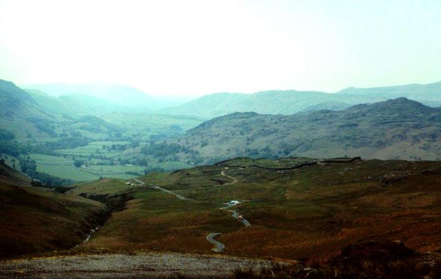 Looking down Hardknott Pass into Eskdale