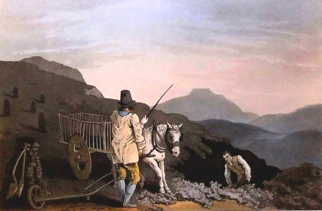 The Peat Cart, a painting by George Walker, 1814, from his Costumes of Yorkshire series. The mountain in the background is Ingleborough