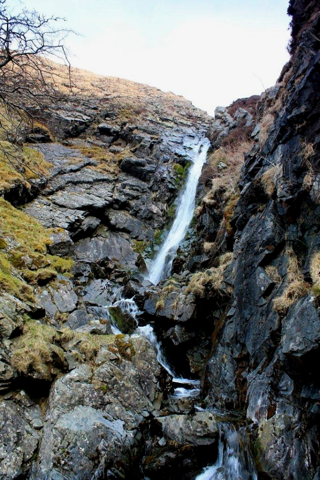 The Spout, at the head of Carlin Gill. The path continues up very steep ground to the left of the waterfall