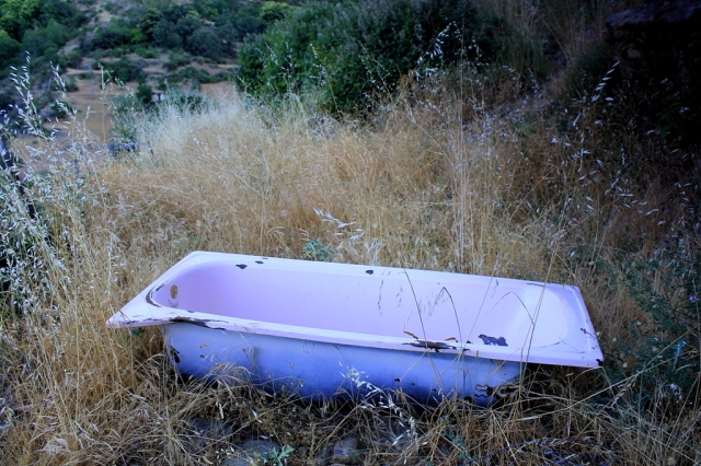A corner of a foreign field that might well be forever England – only it's Spain. Good to see old baths used as animal troughs. Not so sure about the pink colour scheme, though . . .